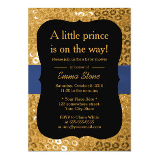 Royal Blue Ribbon Black & Gold Baby Shower 5x7 Paper Invitation Card
