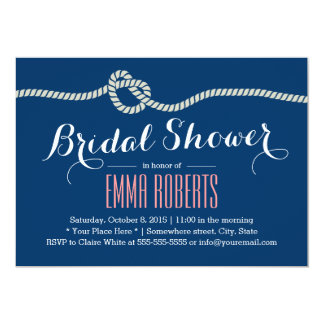 "Royal Blue Rope Knot Bridal Shower Invitations 5"" X 7"" Invitation Card"