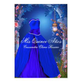 Royal Blue Rose Quinceanera Card