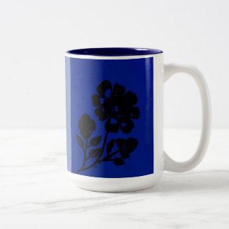 Royal Blue Rose Silhouette Two Toned Coffee Mug