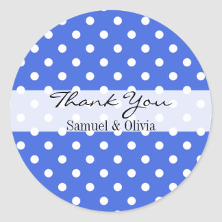 Royal Blue Round Custom Polka Dotted Thank You Classic Round Sticker