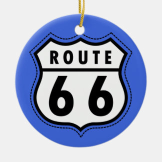 Royal Blue Route 66 Road Sign Double-Sided Ceramic Round Christmas Ornament