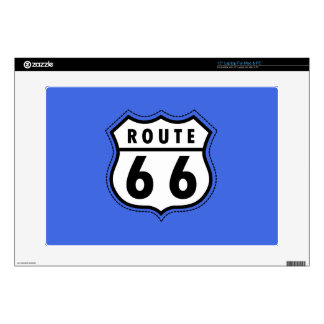 """Royal Blue Route 66 Road Sign Decals For 15"""" Laptops"""
