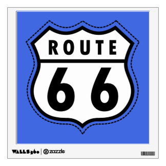 Royal Blue Route 66 Road Sign Wall Graphic