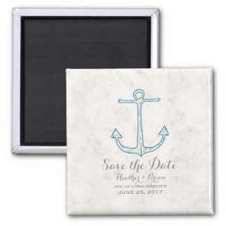 Royal Blue Rustic Anchor Save the Date Magnet