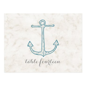 Beach Themed Royal Blue Rustic Anchor Table Number Postcard