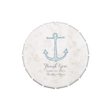 Beach Themed Royal Blue Rustic Anchor Wedding Candy Tin