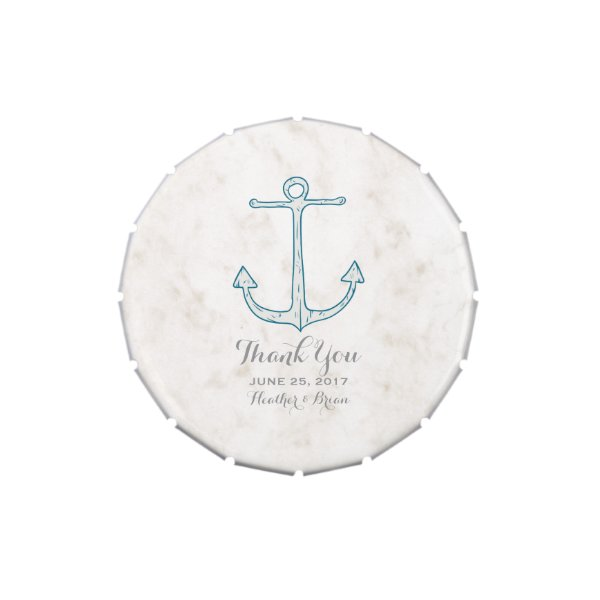Royal Blue Rustic Anchor Wedding Candy Tin
