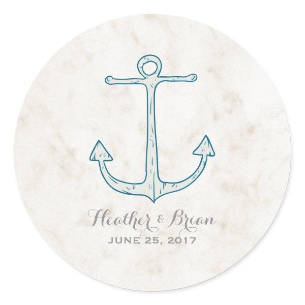 Royal Blue Rustic Anchor Wedding Classic Round Sticker