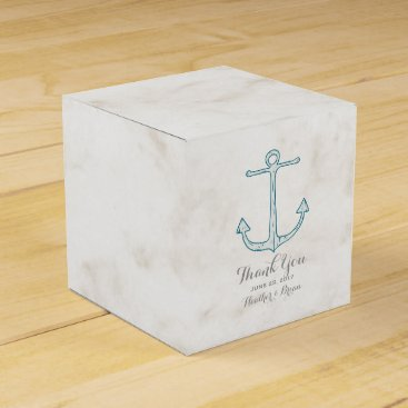 Beach Themed Royal Blue Rustic Anchor Wedding Favor Box