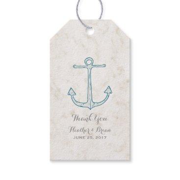 Beach Themed Royal Blue Rustic Anchor Wedding Gift Tags