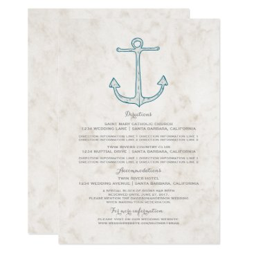Beach Themed Royal Blue Rustic Anchor Wedding Information Card