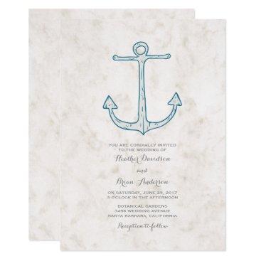 Beach Themed Royal Blue Rustic Anchor Wedding Invite