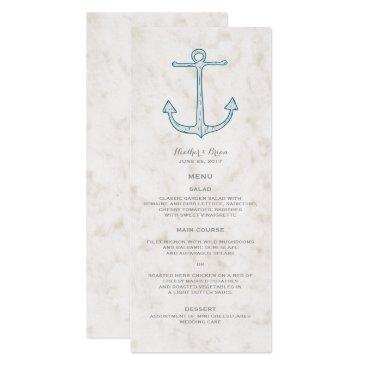 Beach Themed Royal Blue Rustic Anchor Wedding Menu Card