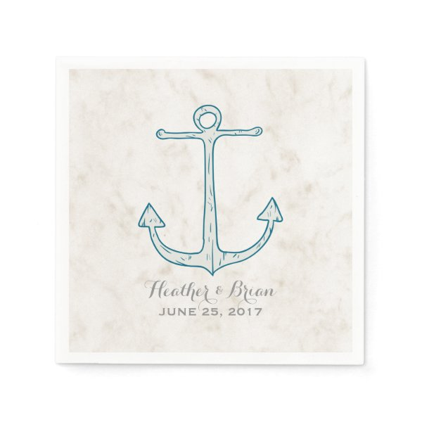 Royal Blue Rustic Anchor Wedding Paper Napkin