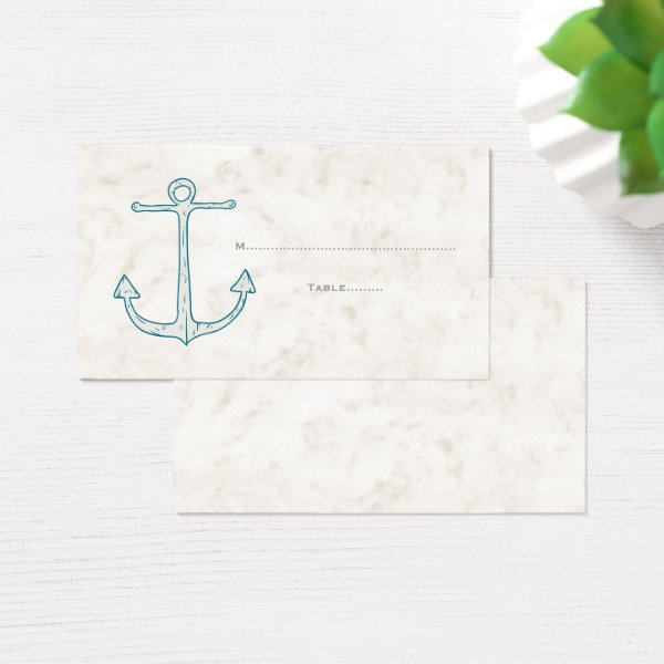 Royal Blue Rustic Anchor Wedding Place Cards