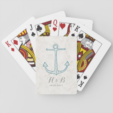 Beach Themed Royal Blue Rustic Anchor Wedding Playing Cards