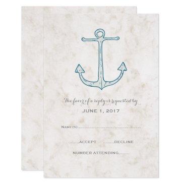 Beach Themed Royal Blue Rustic Anchor Wedding RSVP Card