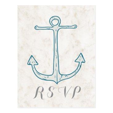 Beach Themed Royal Blue Rustic Anchor Wedding RSVP Postcard