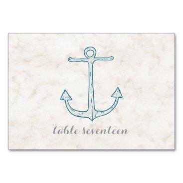 Beach Themed Royal Blue Rustic Anchor Wedding Table Card
