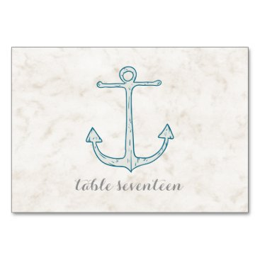 Royal Blue Rustic Anchor Wedding Table Card