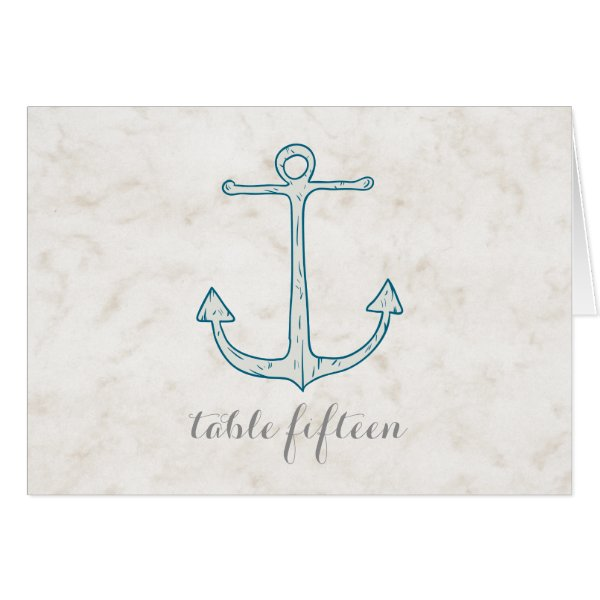 Royal Blue Rustic Anchor Wedding Table Number Card