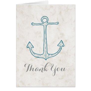 Beach Themed Royal Blue Rustic Anchor Wedding Thank You Card