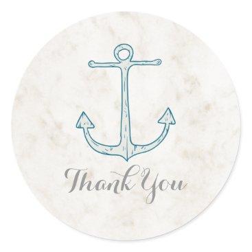 Beach Themed Royal Blue Rustic Anchor Wedding Thank You Classic Round Sticker