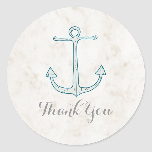 Royal Blue Rustic Anchor Wedding Thank You Classic Round Sticker