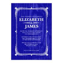 Royal Blue Rustic Barn Wood Wedding Invitations