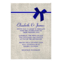 Royal Blue Rustic Burlap Wedding Invitations Personalized Invitations