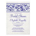 Royal Blue Rustic Linen Bridal Shower Invitations