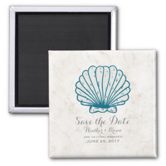 Royal Blue Rustic Seashell Save the Date Magnet