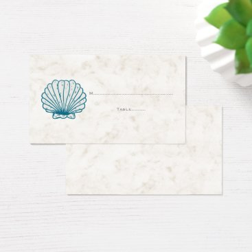 Beach Themed Royal Blue Rustic Seashell Wedding Place Cards
