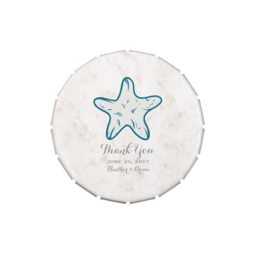 Beach Themed Royal Blue Rustic Starfish Wedding Jelly Belly Tins