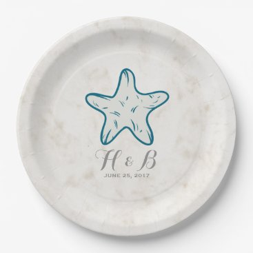 Beach Themed Royal Blue Rustic Starfish Wedding Paper Plate