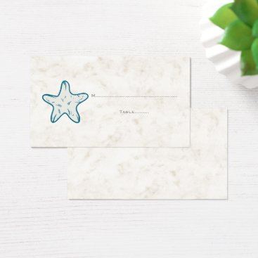 Beach Themed Royal Blue Rustic Starfish Wedding Place Cards