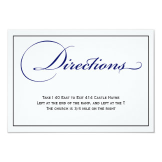 Royal Blue Script Wedding Directions Details Card