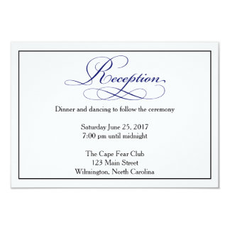 Royal Blue Script Wedding Reception Details Card