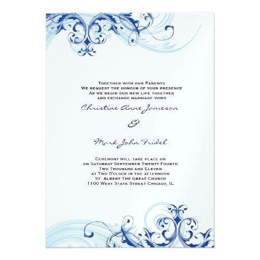 Royal Blue Scroll Fleurish Wedding Invitation 5 X 7 Invitation Card