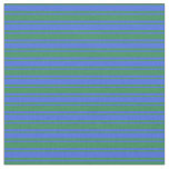 [ Thumbnail: Royal Blue & Sea Green Lined/Striped Pattern Fabric ]