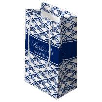 Royal Blue Seigaiha Pattern Bridal Shower Small Gift Bag