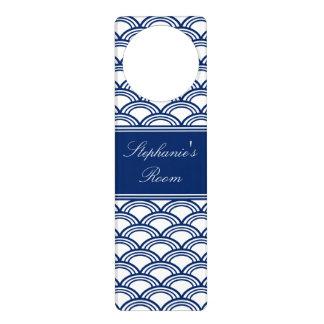 Royal Blue Seigaiha Pattern Door Knob Hanger