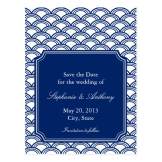 Royal Blue Seigaiha Pattern Wedding Save the Date Post Cards