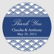 Royal Blue Seigaiha Pattern Wedding Thank You Classic Round Sticker