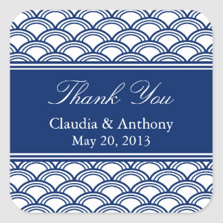 Royal Blue Seigaiha Pattern Wedding Thank You Square Sticker
