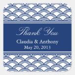 Royal Blue Seigaiha Pattern Wedding Thank You Square Sticker