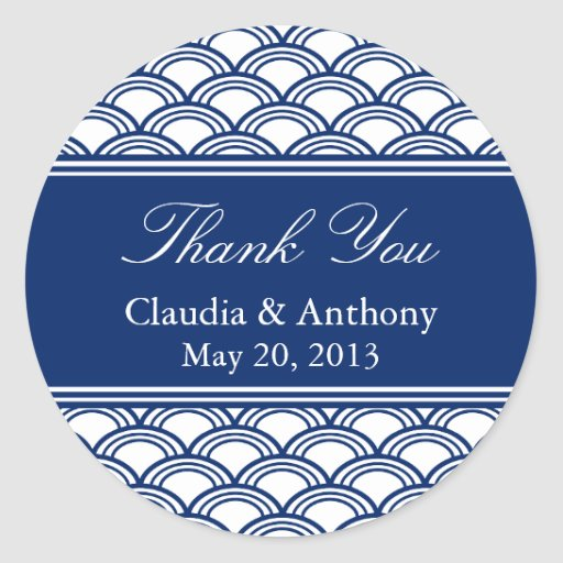 Royal Blue Seigaiha Pattern Wedding Thank You Classic Round Sticker