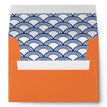 Royal Blue Seigaiha Pattern with Orange Envelope