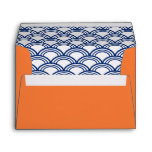 Royal Blue Seigaiha Pattern with Orange Envelopes